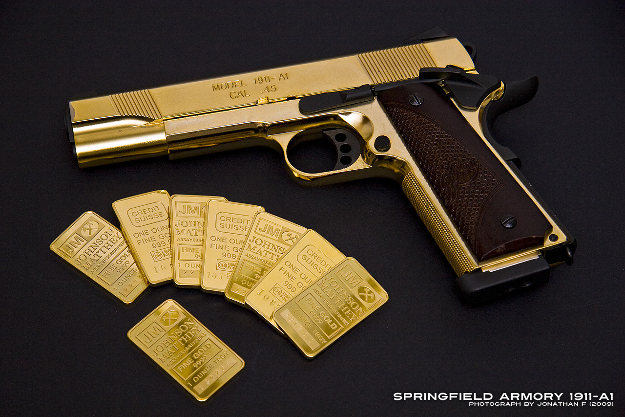 Gold Springfield Armory 1911 Maximum Bling Edition Airsoft Canada